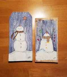 snowmen on reclaimed wood