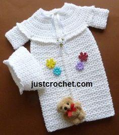 Free baby crochet pattern for preemie sleepsuit http://www.justcrochet.com/preemie-sleepsuit-usa.html #patternsforcrochet #justcrochet: