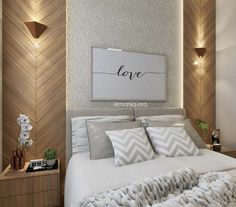 Trendy home decored ideas bedroom couple design headboards 64 ideas Bedroom Wall Decor Above Bed, Bedroom Bed Design, Bedroom Furniture Design, Home Room Design, Home Bedroom, Modern Bedroom, Home Interior Design, Bedroom Decor, Bedroom Classic