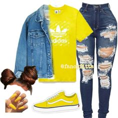 """◦𝕺𝖚𝖙𝖋𝖎𝖙 𝕴𝖓𝖘𝖕𝖔◦ on Instagram: """"A D I D A S💛 _ _ _ #adidas #yellow"""" Swag Outfits For Girls, Cute Outfits For School, Warm Outfits, Nike Outfits, Freshman High School Outfits, How To Wear Vans, School Wear, Vans Outfit, Baddies Outfits"""