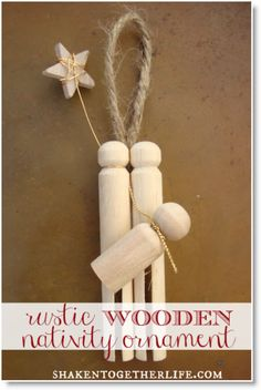 Christmas decorations - rustic style wooden peg nativity ornament you can make yourself. DIY homemade Christmas decorations for the home this festive season. Easy and cheap ideas for kids to make and for you to craft. Rustic Christmas Crafts, Christmas Decorations For The Home, Rustic Crafts, Handmade Christmas, Holiday Crafts, Christmas Ideas, Primitive Christmas, Christmas Printables, Christmas Stuff