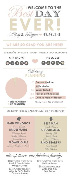 Infographic Wedding Program Handy for guests so they can get to know the wedding party. Do this at the first event and add times and locations for the actual ceremony. Wedding Stationary, Wedding Programs, Wedding Tips, Diy Wedding, Dream Wedding, Wedding Day, Wedding Punch, Wedding Timeline, Wedding Booklet