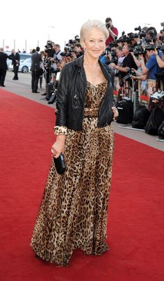 Dame Helen Mirren rocking the leopard print and leather.