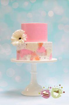 Wafer paper decoupage wedding cake - Cake by KS Cake Design Elegant Birthday Cakes, Elegant Cakes, Beautiful Cakes, Amazing Cakes, Fancy Cupcakes, Wafer Paper Cake, Painted Cakes, Cake Decorating Techniques, Novelty Cakes