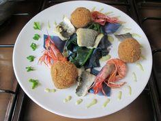 Bar  homard   chou- rouge  croquettes  de  riz  ,fenouil Gino D'Aquino
