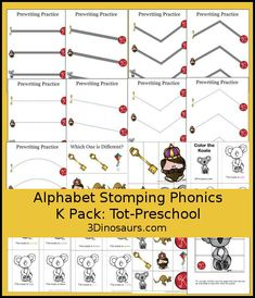 Free Alphabet Stomping K Tot-Preschool Pack - 20 pages of activities…
