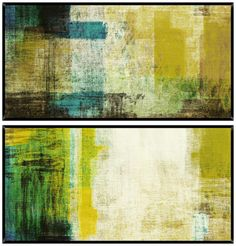 Green Abstract Diptych Set of 2 Wall Art -
