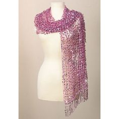 Gorgeous Pink Sequined Scarf.