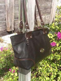 Cristina Italy Blk/Brn Leather Everyday Shopper Shoulder Bag Vgc L@@K!