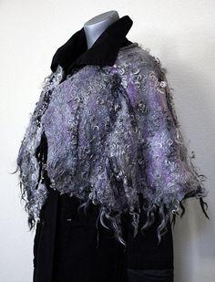 Gray eco-friendly warm bolero cape shrug wrap woman by GBDesign