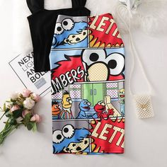 Women's High Waist Anime Print Bodycon Skirt Price: 720 Direct from Chinese manufacturer It takes days to send from China to Philippines 🇵🇭 Please understand  Printed Bags, Printed Skirts, Elmo, Pencil Skirt Casual, Pencil Skirts, Casual Skirts, Mickey Cartoons, Cartoon Letters, Slim Waist