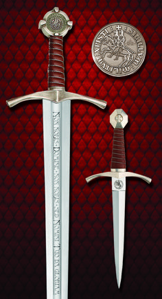 The Accolade Sword of the Knights Templar has a hand forged, high carbon steel blade. The grip is hand-wrapped with red leather. Fantasy Sword, Fantasy City, Fantasy Weapons, Knights Hospitaller, Knights Templar, Swords And Daggers, Knives And Swords, St Michael Tattoo, Tactical Swords