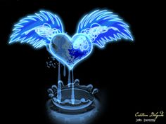 Blue Glass Crying Heart