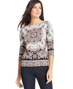 Charter Club Elbow-Sleeve Scarf-Print Boat-Neck Top