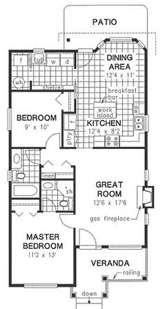 House Plan No.130244 House Plans by WestHomePlanners.com 1000 sq ft great floor plan & bonus fireplace