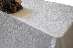 "$23.25 make 2 toppers?!  90""x132"" Seamless Oblong Jacquard Damask Polyester Tablecloth- Ivory 96902(1pc/pk)"