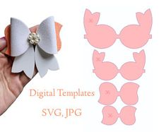 Bow Hair Clips, Hair Bows, Bow Template, Templates, Mouse Silhouette, Silhouette Cameo, Make A Crown, Ear Parts, Diy Bow