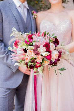 Drooling over this garden rose and protea bouquet: http://www.stylemepretty.com/california-weddings/2015/05/13/old-mill-villa-inspired-shoot/ | Photography: Sally Pinera - http://www.sallypinera.com/
