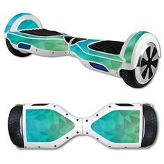 MightySkins Protective Vinyl Skin Decal for Hover Board Self Balancing Scooter mini 2 wheel x1 razor wrap cover Blue Green Polygon