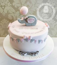 Little Elephant Christening Cake, decorated with pink and grey bunting - Find me on Facebook - Cakes at Rachel's