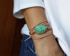 Druzy Wrap Bracelet on Faux Sueded Leather - Seafoam Green Druzy Statement Piece