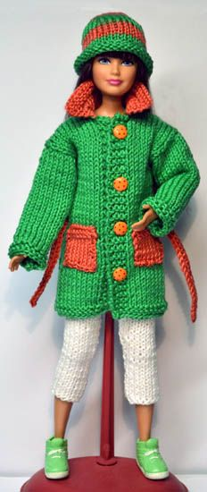 Top, Bottom & Hat (make in crochet) Barbie Knitting Patterns, Knitting Dolls Clothes, Barbie Clothes Patterns, Crochet Barbie Clothes, Doll Clothes Barbie, Barbie Dress, Knitted Dolls, Crochet Dolls, Knit Patterns