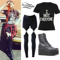 ash costello angel eyes outfit | Ash Costello: 'I Hate Everyone' Tee Outfit ...
