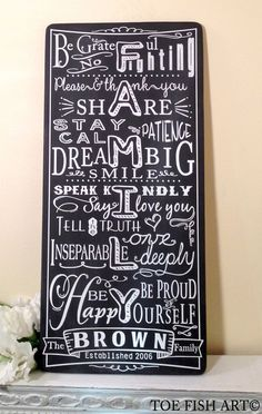 CHALKBOARD Style Custom FAMILY RULES - Typography Word Art Sign on wood -Personalize with your Family Name and Established Date on Etsy, $115.00