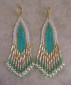These beautiful bead woven earrings are handmade with 12mm golden twist bugle beads, & silver-lined white opal, transparent creme de mint or minty