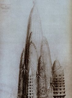 Tower proposal by Gaudi for New York City in 1908.