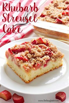 This Rhubarb Streusel Cake recipe is just like Grandma used to make! It's the perfect tender cake recipe with fresh rhubarb and a sweet and crispy streusel topping, and it's absolutely lovely with a cup of coffee or tea! Rhubarb Desserts, Rhubarb Cake, Rhubarb Recipes, Cooking Rhubarb, Streusel Cake, Streusel Topping, Cake Recipes, Dessert Recipes, Gourmet Desserts