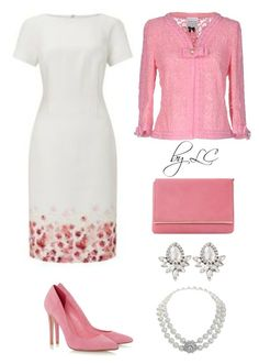 A fashion look from March 2017 featuring pink jacket, pink pumps and red hand bags. Browse and shop related looks. Classy Outfits, Chic Outfits, Beautiful Outfits, Diva Fashion, Womens Fashion, Red Dress Outfit, Modelos Fashion, Looks Chic, Professional Outfits