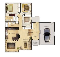 Dauphine II Floor Plan; a couple of modifications and this one would be great for us.