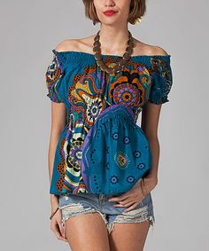 Another great find on #zulily! Blue & Pink Shirred-Waist Off-Shoulder Top by Mode Femme #zulilyfinds