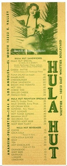 """A somewhat racy greater Los Angeles area """"Hula Hut"""" drive in menu, circa 1940's."""