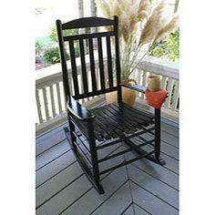 Slat-back Black Rocking Chair