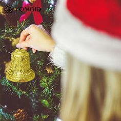 SkangoTM 8cm Golden Christmas bells Christmas decorations new year enfeites de natal beautiful noel christmas ** More info could be found at the image url.