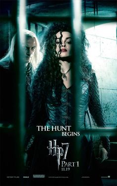 "Harry Potter and the Deathly Hallows: Part 1 - ""The hunt begins."" Bellatrix and Lucius [Poster design by WORKS ADV]"