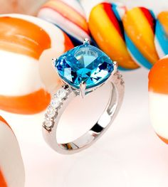 Brighter than sky, this blue ring is the one we've been hoping for! What a sweet treat?! Pair it with orange for an extra pop! | Neon Apatite Simulant & White Diamond Simulant Rhodium Over Silver Ring [Promotional Pin]