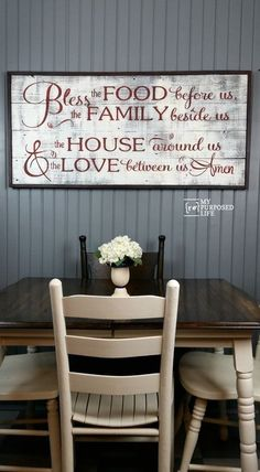 How to make a rustic sign using a contact paper stencil. Bless the Food before us, the Family beside us, the House around us and the Love between us. #MyRepurposedLife #repurposed #reclaimed #wood #sign #diy #rustic #blessthefood Farmhouse Dinning Room Table, Kitchen Farm Table, Dinning Room Tables, Dining Room Wall Decor, Room Decor, Art Decor, Decoration, Decor Around Tv, Dining Table Lighting