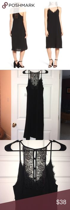 """NWT Chelsea28 black racerback slip dress Pretty lace trim with delicate eyelash fringe enhances this sexy-sweet slipdress. - 44 1/2"""" length - Slips on over head - V-neck - Racerback with button-and-loop keyhole - Lined - 100% viscose - Dry clean - Made in the USA of imported fabric  True to size. S=4-6 Chelsea 28 Dresses Midi"""
