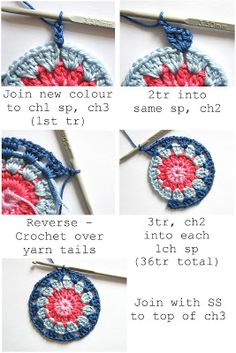 Annie's Place: Happy Flower Block Tutorial :: Would make lovely coasters, but can also be made into squares for a blanket.Di Annie Luogo: Happy Flower Block Tutorial, love it, thanks so xox…Hello lovely readers, before I jump into today& post I rea Crochet Blocks, Crochet Squares, Knit Or Crochet, Learn To Crochet, Crochet Motif, Crochet Crafts, Crochet Stitches, Crochet Projects, Crochet Granny