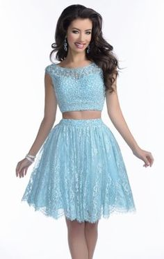 Two-Piece Beaded Lace Gown by Envious Couture Prom 16015