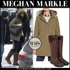Meghan Markle in khaki green parka and brown leather boots in Vancouver on January 14 2020 Meghan Markle Outfits, Meghan Markle Style, Green Parka, Khaki Parka, Black Leather Tote, Brown Leather Boots, Principe Harry, Parka Outfit, January 14