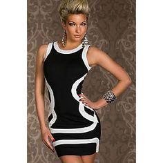 Γύρω από το περιλαίμιο Αντίθεση Γυναικών Χρώμα μίνι φόρεμα - EUR € 9.89