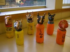 canopic jars - air dry clay and paper over plastic bottles