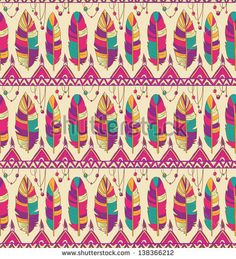 Seamless feather pattern background. Endless colorful texture. - stock vector