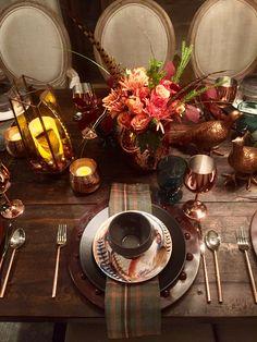 Thanksgiving Tablescape 2017, Copper, Blues, Black Apilco Plates, Feathers