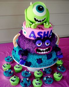 Monsters Inc - Monsters University Cake