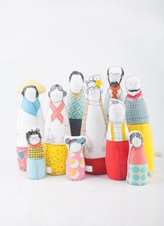 This Family portrait dolls is part of TIMO-HANDMADE a small design line. Sewn with an eye for detail and a touch for fabric. Being hand-made, each